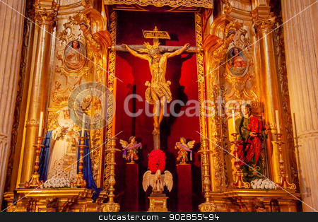 Martinez Christ Crucifixion on Cross Mary Wooden Statues El Salv stock photo, Jesus Christ Crucifixion on Cross Mary 1600s Wooden Statues by Martinez Montanes in Church of El Salvador, Iglesia de El Salvador, Seville, Andalusia Spain.  by William Perry