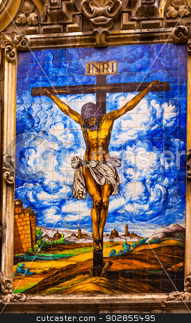 Christ Crucifixion on Cross Ceramic Street Mosaic Seville Spain stock photo, Jesus Christ Crucifixion on Cross Ceramic Street Mosaic Seville, Andalusia Spain. Outside Church of El Salvador, Iglesia de El Salvador. by William Perry