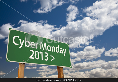 Cyber Monday 2013 Green Road Sign and Clouds stock photo, Cyber Monday 2013 Green Road Sign with Dramatic Clouds and Sky. by Andy Dean
