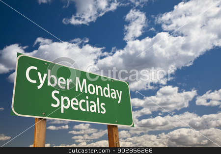Cyber Monday Specials Green Road Sign and Clouds stock photo, Cyber Monday Specials Green Road Sign with Dramatic Clouds and Sky. by Andy Dean