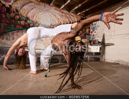 Expert Capoeira Performers stock photo, Capoeira experts kicking and dodging during a performance indoors by Scott Griessel