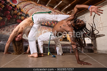 Capoeira Kicking stock photo, Pair of capoeira performers doing a kicking demonstration by Scott Griessel
