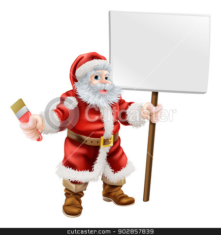 Santa holding paintbrush and sign stock vector clipart, Cartoon illustration of Santa holding a spanner and sign, great for decorator or hardware shop Christmas sale or promotion by Christos Georghiou