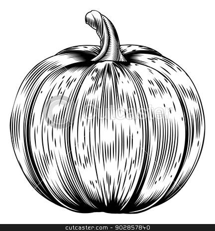 Vintage retro woodcut pumpkin stock vector clipart, A vintage retro woodcut print or etching style pumpkin illustration by Christos Georghiou