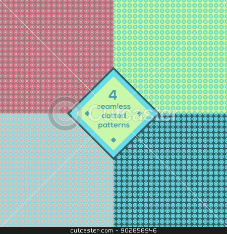 Seamless dotted background set stock vector clipart, Seamless dotted set 4 backgrounds by Maria Egorova