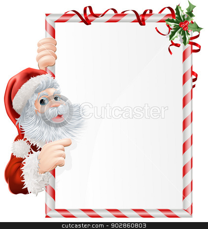 Christmas Santa Sign stock vector clipart, Cartoon Santa pointing at  at Christmas sign decorated with sprigs of holly by Christos Georghiou