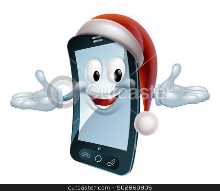 Christmas Mobile Mascot stock vector clipart, Illustration of a Christmas mobile phone character with a Santa hat by Christos Georghiou