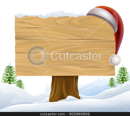 Christmas Santa Hat Snow Sign stock vector clipart, A Christmas wooden sign with a Santa Hat hanging on it in a winter scene with trees in the background by Christos Georghiou