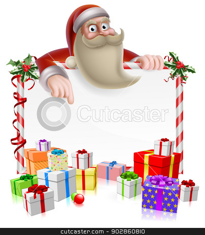 Santa Christmas Banner stock vector clipart, Santa peeking over a Christmas banner surrounded by gifts and pointing at the message by Christos Georghiou