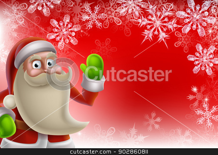 Santa Christmas Border Background stock vector clipart, Cartoon Santa Christmas border background in red with lots of snowflakes by Christos Georghiou