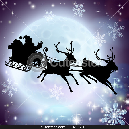 Santa moon sleigh silhouette stock vector clipart, Santa flying in his sleigh with reindeer in front of a full moon in silhouette by Christos Georghiou