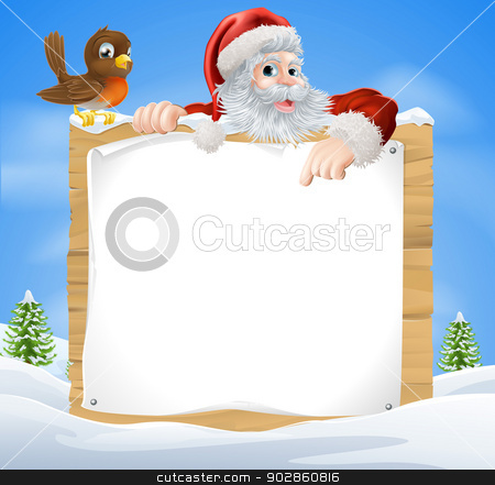Christmas Snow Scene Santa Sign stock vector clipart, A Christmas snow scene with Santa Claus and a cute cartoon Robin above a wooden sign by Christos Georghiou
