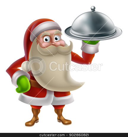 Cartoon Santa Cooking Christmas Dinner stock vector clipart, Cartoon Santa Claus cooking Christmas dinner food, with Santa holding a silver platter by Christos Georghiou