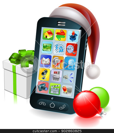 Christmas mobile phone illustration stock vector clipart, A mobile cell phone with a Santa hat and Christmas baubles and gift with ribbon bow by Christos Georghiou