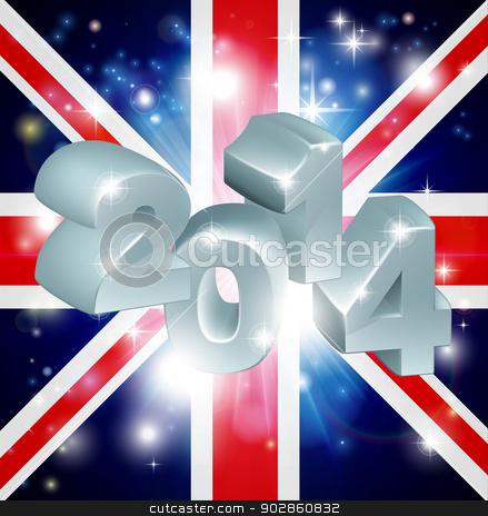 2014 Union Jack Flag stock vector clipart, Union Jack flag of United Kingdom 2014 background. New Year or similar concept by Christos Georghiou