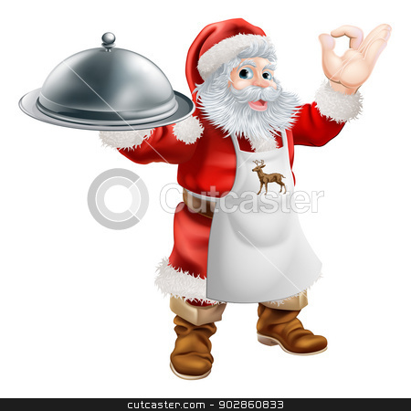 Santa Cook Christmas Dinner Concept stock vector clipart, Cartoon Santa Claus cooking Christmas dinner food, with Santa in an apron holding a silver platter and doing a perfect gesture by Christos Georghiou