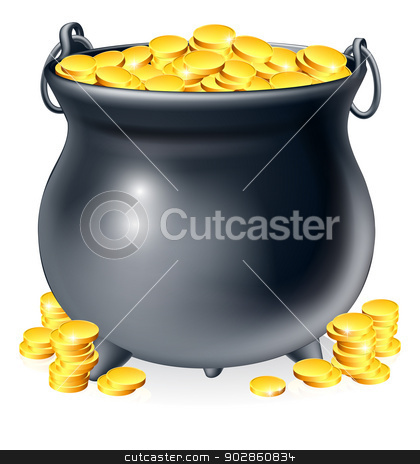 Cauldron full of gold coins stock vector clipart, Illustration of cauldron or a black pot full of gold coins by Christos Georghiou