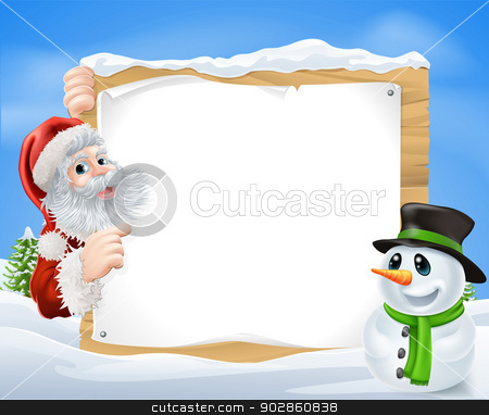 Santa Snowman Snow Scene stock vector clipart, Santa and cartoon Snowman Snow Scene with Santa and a cartoon snowman in a winter scene framing a wooden sign by Christos Georghiou