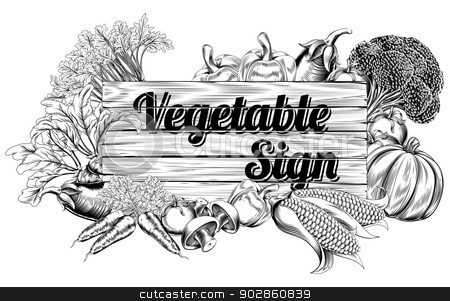 Vintage vegetable produce sign stock vector clipart, A vintage retro woodcut print or etching style vegetable wooden sign illustration by Christos Georghiou