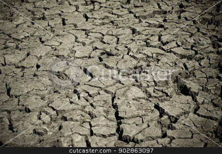Cracked by the heat long lifeless soil stock photo, Cracked by the heat long lifeless soil by Maria Itina
