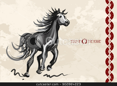 Chinese New Year of horse 2014 postcard stock vector clipart, Chinese New Year of horse 2014 ink brush painting over grunge background. EPS10 vector file with transparency layers. by Cienpies Design