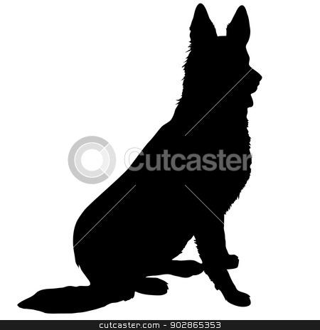 German Shepherd Silhouette stock vector clipart, Black silhouette of a sitting German Shepherd  by Maria Bell