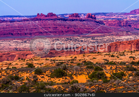Yellow Grass Lands Red Canyon Moab Fault Arches National Park Mo stock photo, Colorful Yellow Grass Lands Red Canyon Moab Fault Windows Section Arches National Park Moab Utah USA Southwest.  by William Perry
