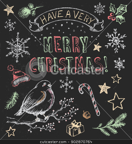 Vintage Christmas Chalkboard Hand Drawn Vector Set stock vector clipart, Festive hand drawn chalkboard elements to embellish your layout. by ArtnerDluxe