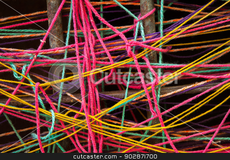 Colorful Turkish Yarn  stock photo, Detail of colorful Turkish yarn  by Scott Griessel