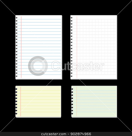 Sheet of lined papers on black background