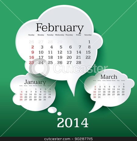 February 2014 Clipart February 2014 bubble speech