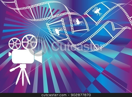Movie background stock vector clipart, Shiny background with film stripes and movie camera by blumer