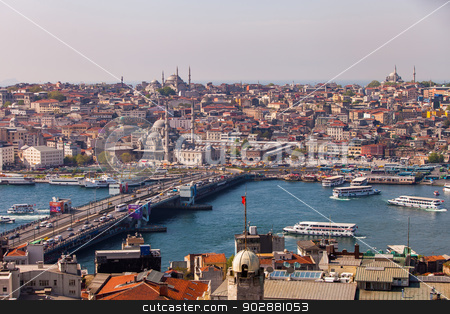 Galata Bridge in Istanbul stock photo, ISTANBUL, TURKEY – APRIL 28: The New Mosque and neighborhoods along the Bosphorus on April 28, 2012 in Istanbul, Turkey prior to Anzac Day.  The Bosphorus divides Turkey between Europe and Asia.   by Scott Griessel
