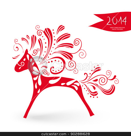 Year of the Horse postcard stock vector clipart, 2014 Chinese New Year