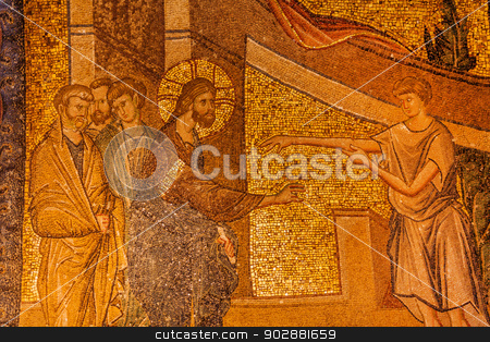 Jesus Miracle Mosaic stock photo, Healing Story Mosaic in Istanbul Chora Church by Scott Griessel