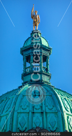 Golden Vancouver Statue Provincial Capital Legislative Buildiing stock photo, Golden George Vancouver Statue Dome Provincial Capital Legislative Parliament Buildiing Victoria British Columbia Canada.   by William Perry