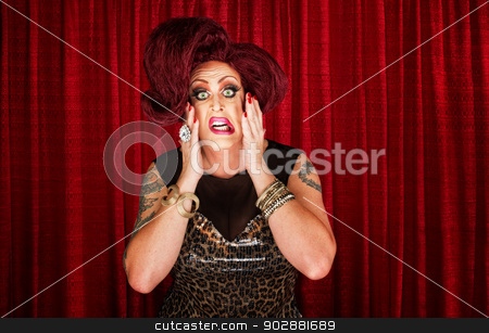 Uncertain Drag Queen stock photo, Uncertain drag queen with hands on face by Scott Griessel