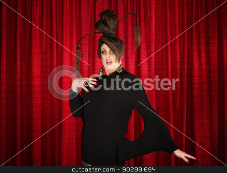 Startled Man in Drag stock photo, Startled man in drag with unique dress by Scott Griessel