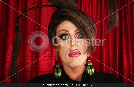 Spaced Out Drag Queen stock photo, Spaced out drag queen with unique hairdo by Scott Griessel