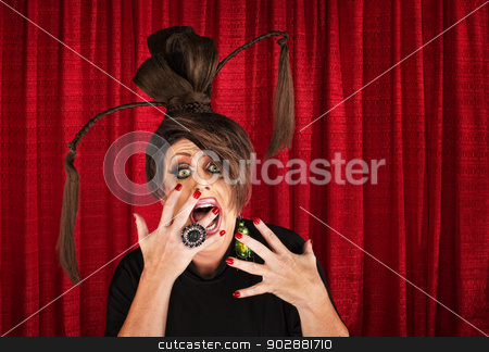 Scared Drag Queen stock photo, Shouting drag queen with ponytails with hands in front of mouth by Scott Griessel