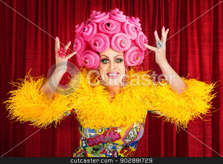Happy Drag Queen Performing stock photo, Happy man in dress and pink foam wig performing by Scott Griessel