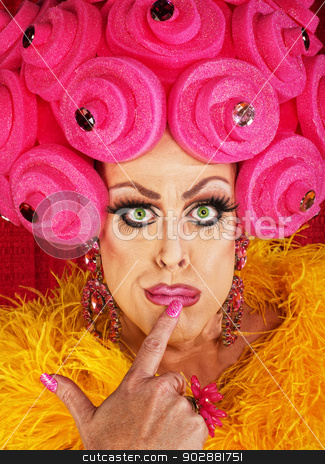 Serious Man in Female Makeup stock photo, Serious cross dressing man with finger on lips by Scott Griessel