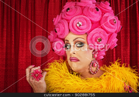 Conceited Drag Queen stock photo, Conceited drag queen with foam pink flower wig by Scott Griessel