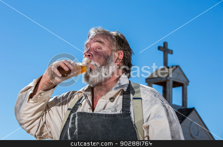 Old West Drunk Drinks stock photo, Old West Drunk Drinks a bottle of Liquor by Scott Griessel