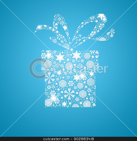 Silhouette gift box filled with snowflakes stock photo, Silhouette gift box filled with snowflakes. Christmas card by cherezoff