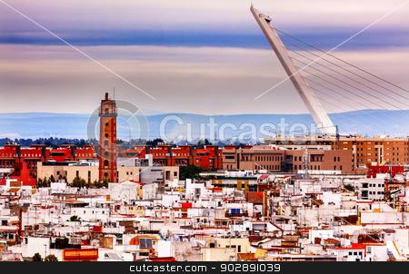 Camera Obscura Alamillo Bridge Puente de Alamillo Cityscape Anda stock photo, Camera Obscura, Alamillo Bridge, Puente de Alamillo, Cityscape, Spanish Houses Seville, Andalusia Spain.   by William Perry