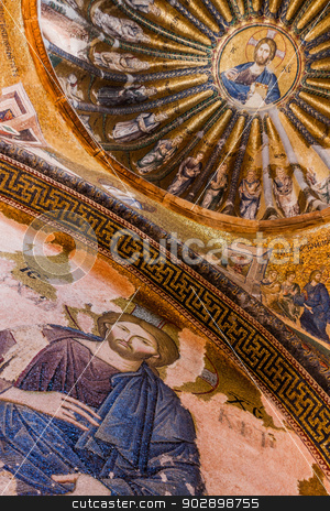 Jesus Mural stock photo, Jesus Mosaic in Istanbul Chora Church by Scott Griessel