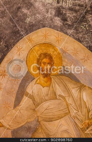 Jesus Mural in Chora Church stock photo, Jesus Ceiling Mural at Chora Church by Scott Griessel