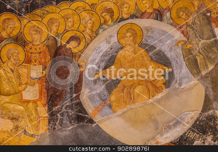 Chora Church Mural Detail stock photo, Jesus and Mary Ceiling Mural at Chora Church by Scott Griessel