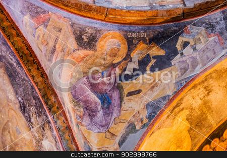 Chora Church Mural Detail stock photo, Deatail of Ceiling Mural at Chora Church by Scott Griessel